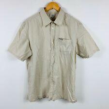 Calvin Klein Mens Button Up Shirt Size XL Slim Fit Short Sleeve Beige