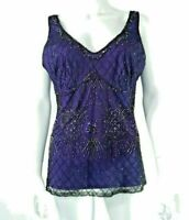 Purple & Black Beaded Top Gatsby Sequins sz 12 Planet Evening Formal Party