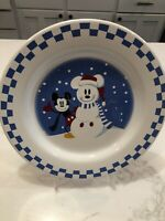 "Disney Snowman Mickey Mouse Salad Plate Checkerboard Rim 9"" Christmas"