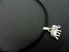 "A LADIES BLACK LEATHER CORD 13 - 14"" CHOKER ELEPHANT & CRYSTAL NECKLACE . NEW."