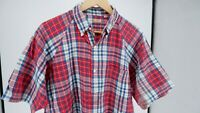 SUGAR CANE union made TOYO red plaid pullover polo shirt large
