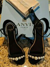 NEW Lanvin Paris - Flat Sandals with Pearls in Black - Made in Italy - Size 37