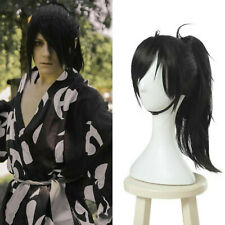 Dororo Hyakkimaru Cosplay Wig Black Long Straight Ponytail Bangs Hair USA Ship