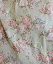 RALPH LAUREN Full Flat Sheet Charlotte Floral Rose Sage Green Cottage Country