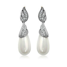 18K WHITE GOLD PLATED GENUINE CLEAR AUSTRIAN CRYSTAL & PEARL DANGLE  EARRINGS