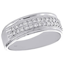 10K White Gold Round Diamond Milgrain Wedding Band 7.50mm Mens Pave Ring 1/2 CT