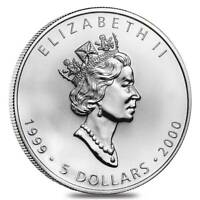 1999/2000 SILVER 1 OZ CANADIAN MAPLE LEAF MILLENNIUM .9999 Fine $5 COIN