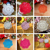 Handmade Crocheted Placemat Table Mat Cotton Doily Cup Dish Kitchen Round 14cm