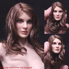 1/6 Escala Escultura de cabeza Natalie Portman Cabello Castaño para PHICEN figura femenina Cuerpo