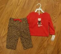 Carter's Toddler Girls 2 Piece Fleece Cat Theme Fleece Pajama Set Size 18 mo 3T