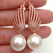 Rose Gold Plated Cz micro pave Wing White Sea Shell PearlStud Earrings