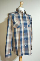 Levi's Selvedge Plaid Check Long Sleeved Worker Shirt Size M Blue/Brown/Tan