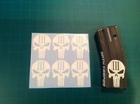 3% PUNISHER SKULL mag sticker 6 pack, Airsoft M4, AR-15, AK-47 Mags, All Colors