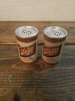 Vintage 60s SCHLITZ Beer SALT & PEPPER SHAKERS CAN SET Picnic Advertising