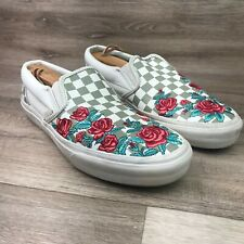 Vans Womens size 9.5 checkered floral slip on shoes unisex mens size 8 Roses