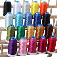 POLYESTER MACHINE EMBROIDERY THREAD SET 20 ESSENTIAL COLORS - 1000M CONES - 40WT