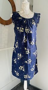 Long Tall Sally Summer Top Tunic Blue Yellow Floral Viscose UK Size 12