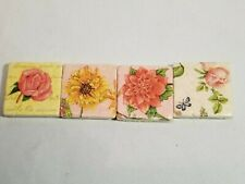 "Lot of 4 Handmade Decoupage Art Tiles Tumbled Marble Floral Motif 2X2"" Magnetic"