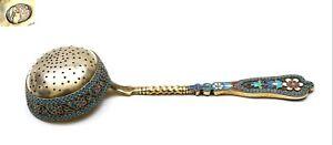 Antique Russian Gilt Solid Silver 84 Enamel Tea Strainer Marked Kokoshnik