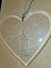 "Vintage Hallmark Acrylic Heart Shaped Love 1983 Skaters Christmas Ornament 4"""