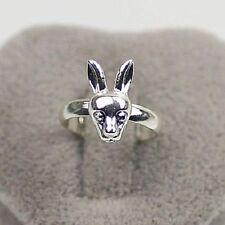 Super cute silver tone bunny rabbit adjustable ring