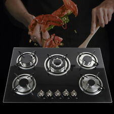 """New listing 5 Burners Built-In Stove Cooktops Ng/Lpg Gas Hobs Black Tempered Glass 23"""" 30"""""""