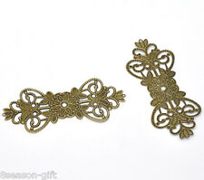 30 Bronze Tone Filigree Flower Wrap Connector 7.4x3.1cm