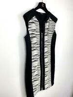 Roman Dress UK 14 Black White Zip Down Sleeveless Shift Party Work Office Smart