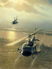 Rolling on the River [Bell UH-1 Iroquois Huey] Vietnam CANVAS William S Phillips