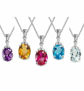 """Metal Garnet Sky Blue Topaz Set of 5 Gift Pendant with Chain 20""""Chain Cttw 4.3"""
