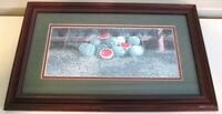 """Fresh Sliced Watermelon Patch 21"""" x 13"""" Wood Frame Glass Matted Print USA Made"""