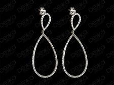 925 Sterling Silver Cubic Zirconia Double Teardrop Pear Shape Earrings Tear Drop