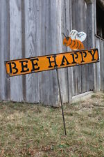 Bee Happy Yard Stake Sign - Whimsical Can Art Garden Decorations - Outdoor Fun