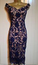 Navy Floral Crochet Lace Bardot Midi Pencil Cocktail Evening Party Dress Size 10