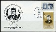 UNITED STATES 1964 KENNEDY STAMP ALSO FRANKED WITH THE PARAGUAY STAMP ON FDC