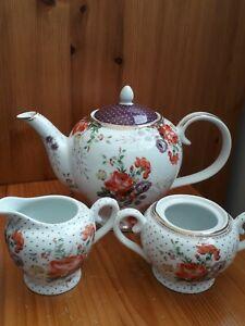 New Katie Alice floral teapot milk jug and sugar bowl