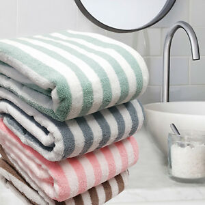 100% COTTON LARGE HOME BEACH BATH TOWEL SOFT ABSORBENT STRIPE TOWELS 90 x 180 cm