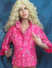 Ladies HOT PINK fuchsia SILK EMBROIDERED floral JACKET coat  STAND-UP collar Sm