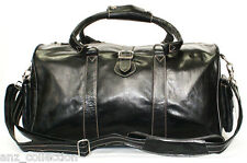 Medium Black Real Leather Holdall Duffle Travel Sports Gym Designer Weekend Bag