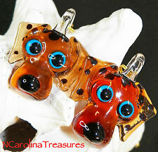 ART GLASS CEILING FAN LIGHT SWITCH PULL BROWN DALMATIAN DOG PUPPY LARGE PAIR