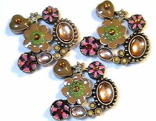 3 - 2 HOLE BEADS MAUVE & BROWN ENAMEL FLOWERS & HEARTS CABS CRYSTAL RHINESTONES