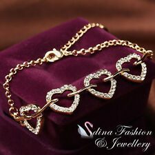 18K Yellow Gold Plated Simulated Diamond Lovely 4 Love Hearts Bracelet