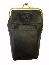 New Buxton Women Leather Cigarette Case Holder with Lighter Pocket - Black