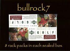 2001 Upper Deck Golf RACK 12 BOX CASE 24/5 - 8/3 Tiger Woods RC Auto SP Preview