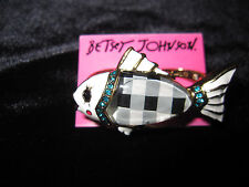 BETSEY JOHNSON MERMAID TALE UNDER THE  SEA BLACK AND WHITE CHECKERED  FISH RING
