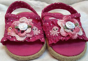 NEW GYMBOREE SHOES SANDALS w/ ROSE 3 6 9 12 MONTHS GIRLS BABY INFANT PINK POLKA