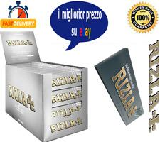Rizla Cartine Argento Corte Silver Regolar Sigarette Scatola Box Da 100 Libretti