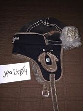 True Religion Brand Jeans Black Trapper Hat with Leather and Fur