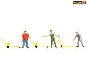 FALLER 151096 Fabrikarbeiter mit Hubwagen, 3 Figuren + Zubehör (H0) ++ NEU & OVP