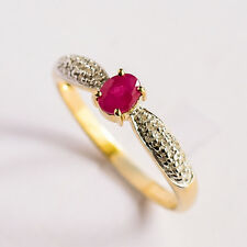 NATURAL RUBY RING GENUINE DIAMONDS REAL 9K 375 GOLD SIZE P GOOD RED COLOR NEW